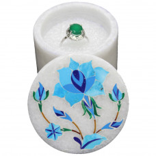 Handmade Floral Design Inlaid White Marble Trinket Box