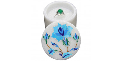 White Marble Art Small Round Jewelry Box for Rings