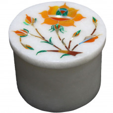 Handmade White Marble Ring Box Inlaid Carnelian Gemstone