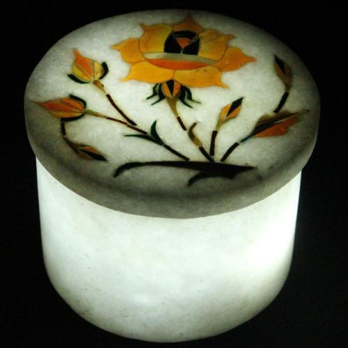 Handmade White Marble Ring Box Inlaid Carnelian Gemstone
