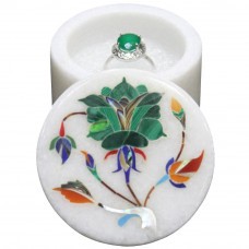 White Marble Ring Storage Box Inlaid Real Gemstones