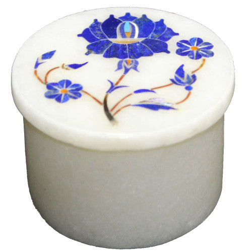 Marquetry Art Inlay White Marble Ring Storage Box