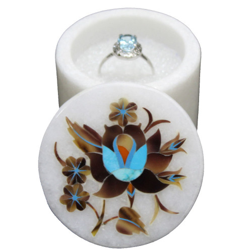 Mosaic Art Inlay White Marble Trinket Box