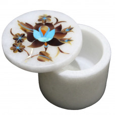 Mosaic Art Inlay White Marble Trinket Box