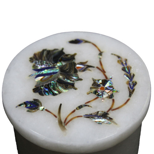 Marble Inlay White Ring Box Inlaid Paua Shell