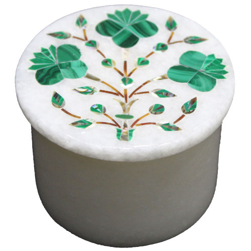 Handmade Floral Design Inlay White Marble Ring Box