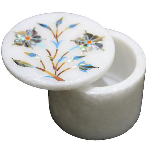 Handmade Paua Shell Inlaid White Marble Trinket Box
