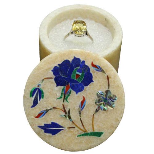 Marquetry Art Inlay Beige Pink Marble Trinket Box