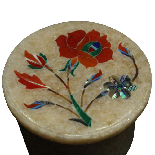 Carnelian Gemstone Inlaid Pink Marble Handmade Ring Box