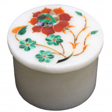 Floral Design Inlaid Handmade White Marble Ring Storage Box