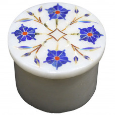 Multi Precious Stones Inlaid White Marble Jewelry Box