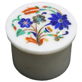 Antique Marquetry Art Inlaid White Marble Jewelry Storage Box