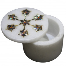 Unique Floral Design Inlaid White Marble Trinket Box