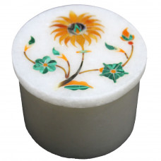 Round White Marble Ring Storage Box Inlaid Multi Precious Stones