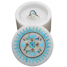 Round White Marble Jewelry Storage Box Inlaid Turquoise Gemstone