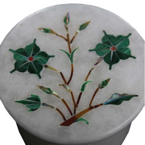 Handmade White Jewelry Box Inlaid Malachite Gemstone