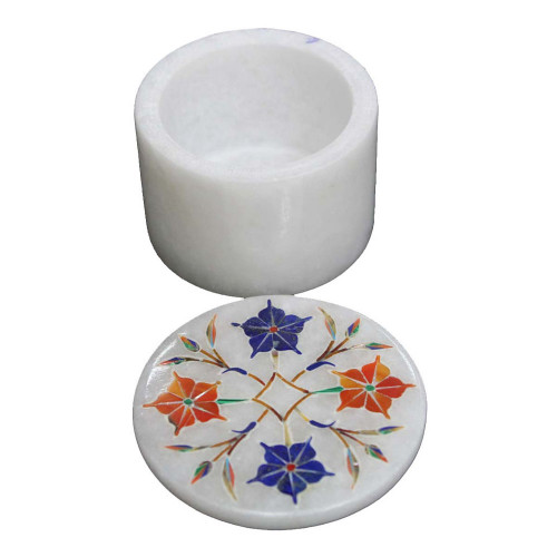 Handmade White Marble Earring Storage Box