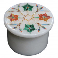 Antique Pietra Dura Art Inlay White Trinket Box