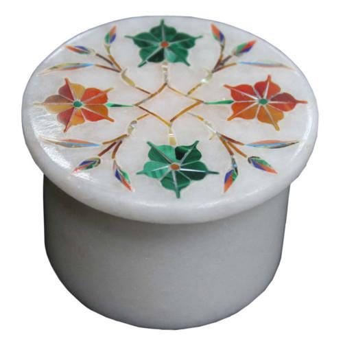 Antique Pietra Dura Art Inlay White Trinket Box
