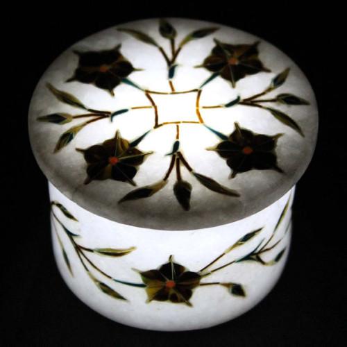 White Marble Mughal Inlay Art Jewelry Storage Box