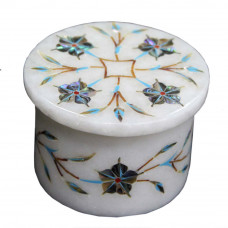 White Marble Mughal Inlay Art Jewelry Storage Box