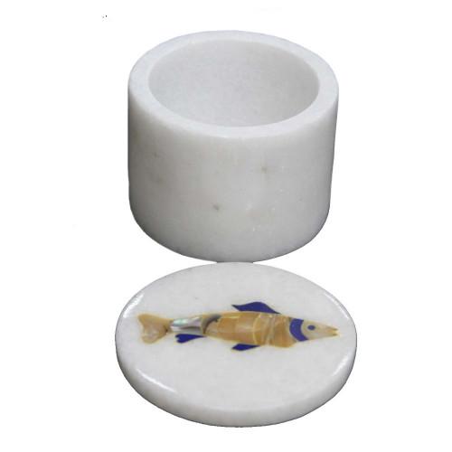 Handmade Ancient Art Inlay White Marble Jewelry Box