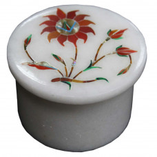 Floral Design Inlay White Jewelry Trinket Box