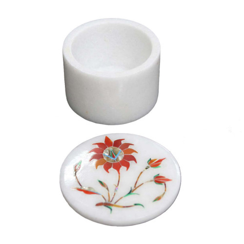 Floral Design Inlay White Jewelry Trinket Box