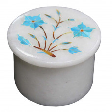 Handmade White Marble Round Jewelry Box Ring Storage
