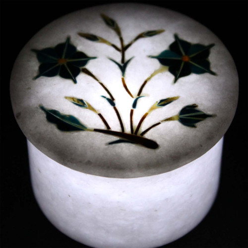 Handmade White Marble Round Jewelry Box Ring Storage