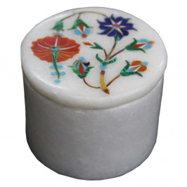Beautiful Fine Flower Design Inlay White Ring Trinket Box