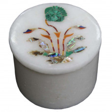 Handmade Ring Holder White Trinket Box Inlaid Stones