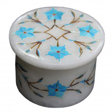 Turquoise Gemstone Inlaid White Marble Ring Storage Jewelry Box