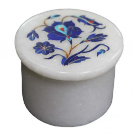Floral Design Inlay White Marble Ring Storage Box
