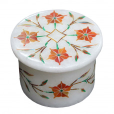 Carnelian Gemstone Inlay White Marble Ring Jewelry Box