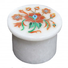 Beautiful Art Inlay White Marble Jewelry Storage Box