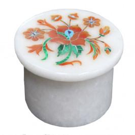 Beautiful Art Inlay White Marble Jewelry Storage Box