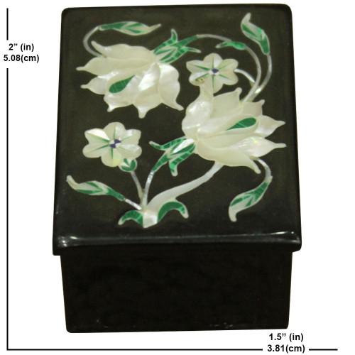 """2"""" x 1.5"""" Inch Malachite Onyx Trinket Box  Pietra Dura Art"""