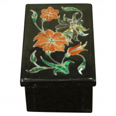 Vintage Decorative Onyx Box With Floral Design For Jewellry Storage Gift