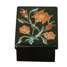 Rectangular Onyx Vanity Box Mosaic Art Inlaid Coral Rare Stone