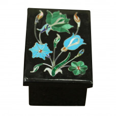 Black Onyx Trinket Boxes Amazing Floral Art Work