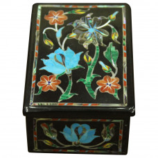 Malachite Gem Stone Inlay Trinket Box With Antique Scagliola Art