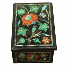 Rectangular Onyx Jewelry Box For Bangles With Beautiful Floral Art