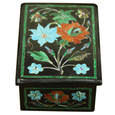 Beautiful Masterpiece Onyx Jewelry Box Malachite Floral Design
