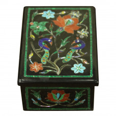 Onyx Trinket Box Inlaid Gemstones Mughal Era Peacock Scagliola Art