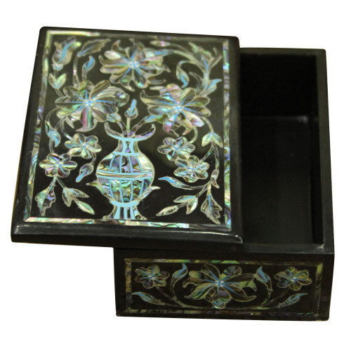 Jewelry Box Black Onyx Marble Inlay Handicrafts Tree of Life Design