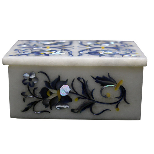 Rectangle White Marble Inlay Box Floral Design