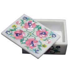 Floral Design Marble Inlay Box For Home Decoration