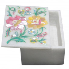 White Marble Jewelry Box Scagliola