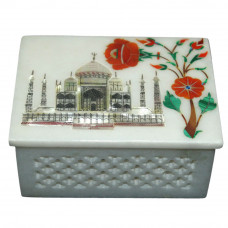 Filigree Marble Jewelry Box Inlaid Semi Precious Stones